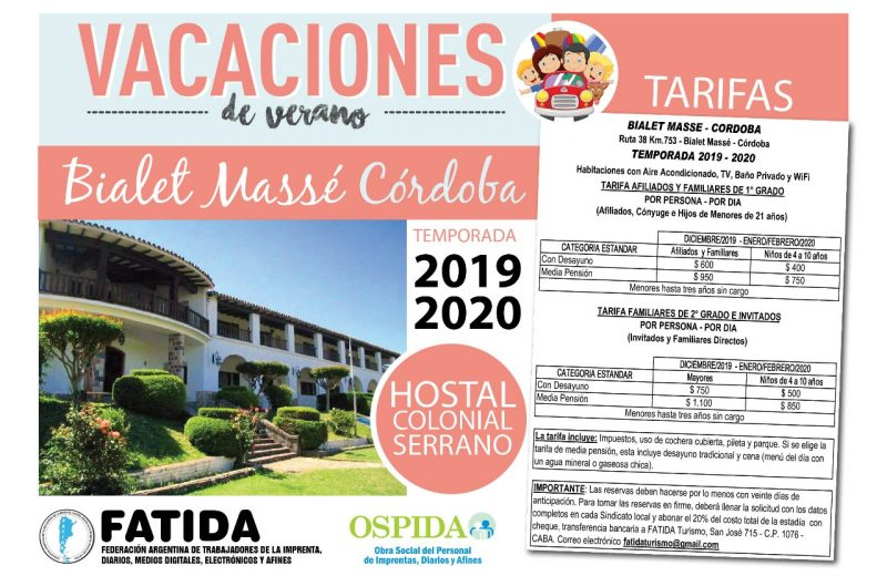 Vacaciones en Hostal Colonial Serrano – Bialet Massé – Córdoba