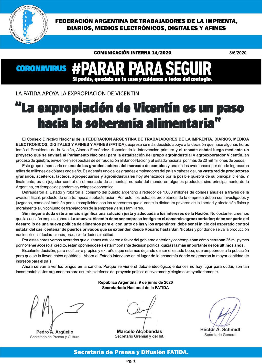 La expropiación de Vicentín es un paso hacia la soberanía alimentaria