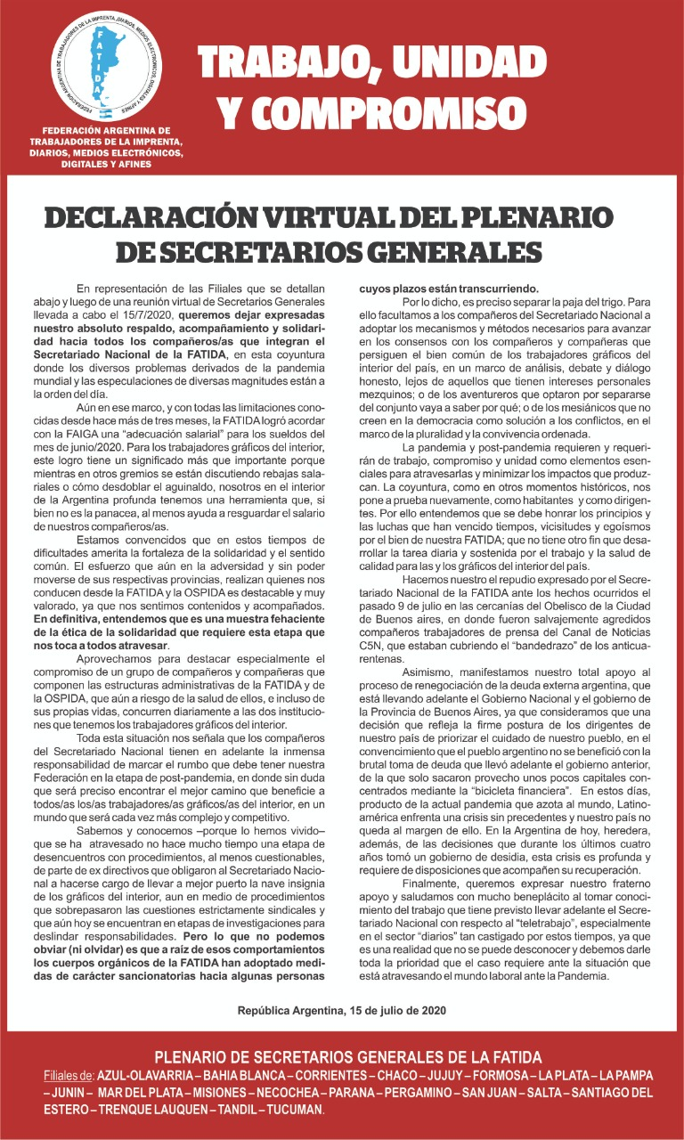 Documento del Plenario virtual de secretarios generales.