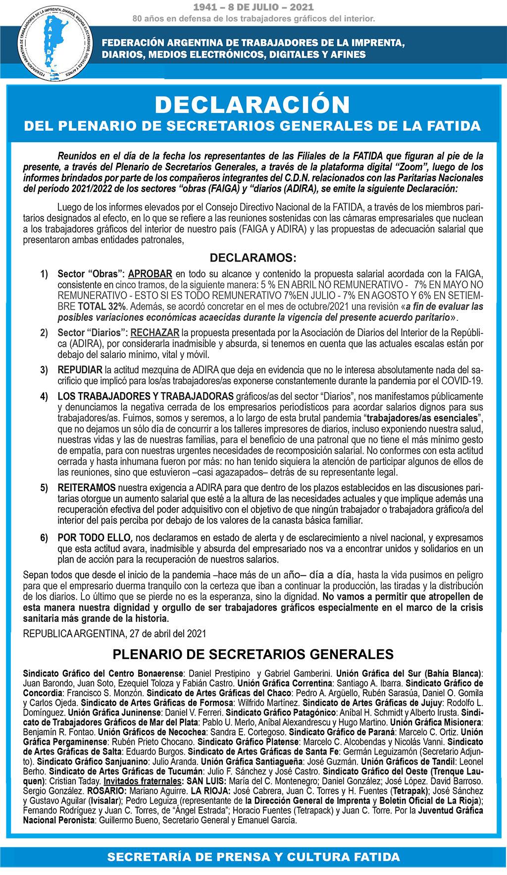 Declaración Plenario de Secretarios Generales 27-4