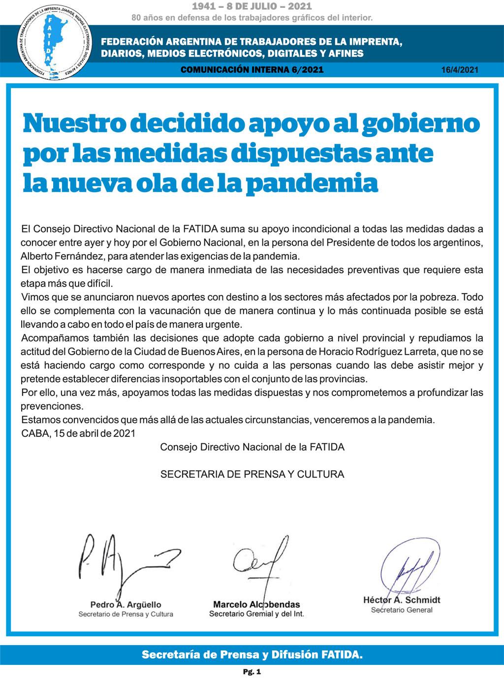 Nuestro decidido apoyo al gobierno por las medidas dispuestas ante la nueva ola de la pandemia