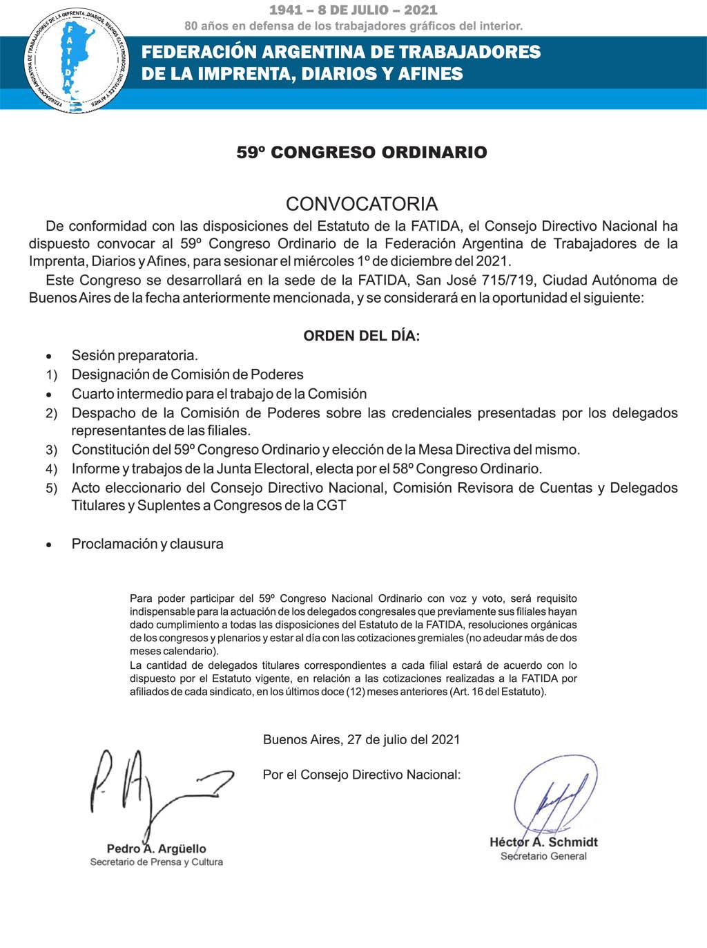 Convocatoria al 59° Congreso Ordinario
