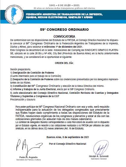 Convocatoria 59º Congreso Ordinario de FATIDA